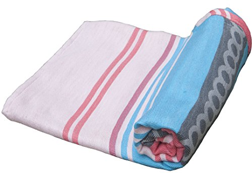 Fiesta Ziesta Handmade Mexican Beach and Picnic Blanket, Sand Resistant and Quick Drying, For Family or Small Group (58 in. x 78 in.) - Puerto Escondido - Puerto Escondido Mexico