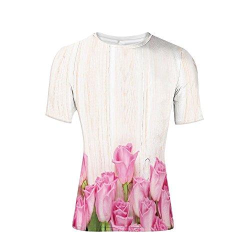 Devil Rays Wood - T-Shirt for Men,Inspired Composition Flowers on Wood Planks Print,3D Print