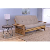 Phoenix Full Size Sofa Futon, Butternut Wood Frame With Suede Innerspring Mattress, Peat
