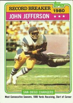 1981 Topps Regular (Football) Card# 332 John Jefferson RB of the San Diego Chargers ExMt Condition