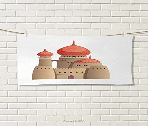 Anniutwo Tribal,Hair Towel,Arabian Castle Cartoon Style Fairy Tale Palace Medieval Historical Architecture Art,Quick-Dry Towels,Multicolor Size: W 8'' x L 23.5'' by Anniutwo