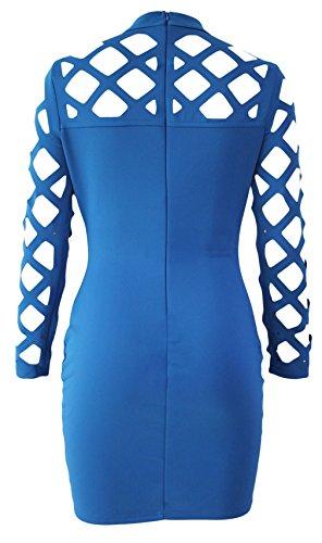 La Vogue Robe Courte Femme Bleu Manche Longue Moulant Col Haut Décolleté Soirée
