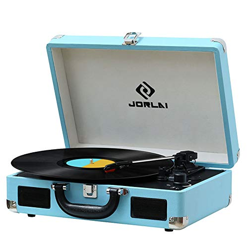Vinyl Record Player JORLAI Turntable, 3 Speed Bluetooth Record Player Suitcase with Built in Speakers/ Rechargable Battery/ Vinyl-to-MP3 Recording/ Headphone Jack/ Aux Input/ RCA Line Out (TT300-PBL)