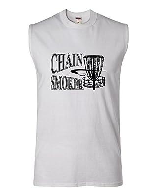Adult Chain Smoker Funny Disc Golf Frolf Sleeveless Tank Top T-Shirt