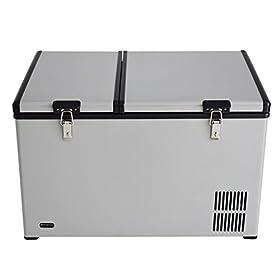 Whynter FM-901DZ 90 Quart Dual Zone Portable Fridge Optional Wheels, AC 110V/ DC 12V True Freezer fo