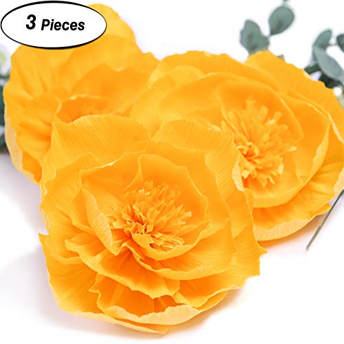 Giant Paper Flower Decorations for Wall Golden Crepe Paper Flower for Wall Yellow Paper Flower for Wedding Bouquets Centerpieces Arrangements Party Baby Shower Decorations Nursery Wall Decor( Set 3)