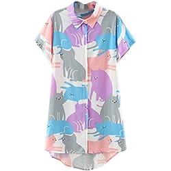 Memorose Womens Cartoon Lapel Short Sleeve Cat Printed T shirt Tops Blouse Tee M