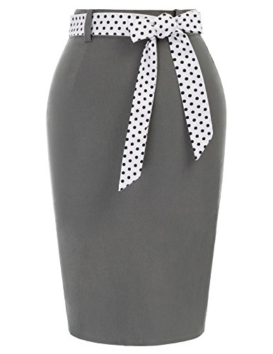 Belted Pencil Skirt - Belle Poque Midi Working Formal Belted Pencil Skirts Gray Size M BP597-2