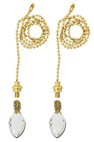 Royal Designs Fan Pull Chain with Pear Shaped Crystal Finial – Polished Brass – Set of 2 by Royal Designs, Inc