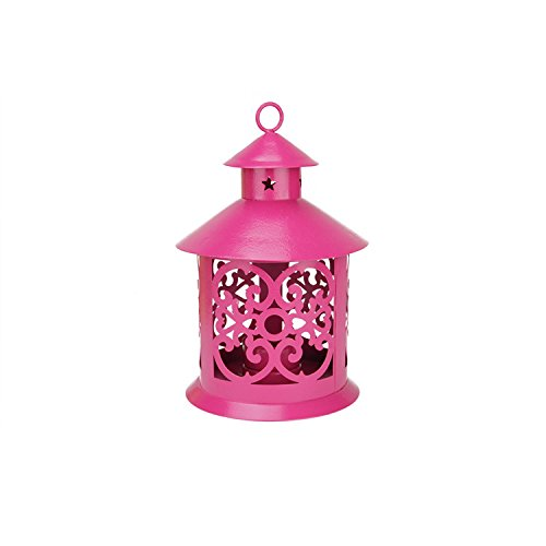 (Northlight Shiny Pink Votive or Tea Light Candle Holder Lantern with Star and Scroll Cutouts, 8