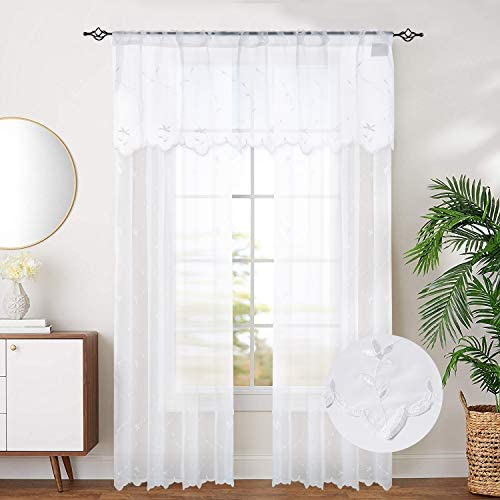 jinchan White Floral Leaves Embroidered Curtains and Valance Rustic Embroidery Voile Curtains for Bedroom, Set of Three, W52 x L84, W52 x L18