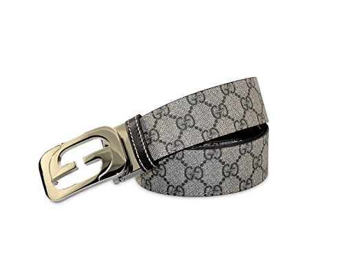 Gucci Men's GG Supreme Canvas Double-facing G Buckle Reversible Belt, Beige Ebony/Cocoa 245861 (US 34-36 (Gucci/UK 95))