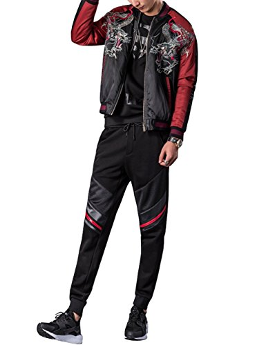 LETSQK Men's Retro Casual MA-1 Air Force Dragon Embroidery Baseball Bomber Jacket 3XL