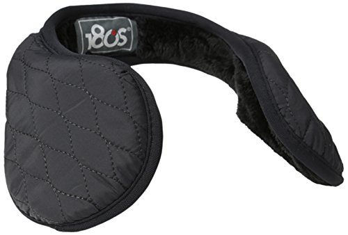 180s Women's Keystone Quilted Behind The Head Ear Warmers with Faux Fur Liner, Black, One Size
