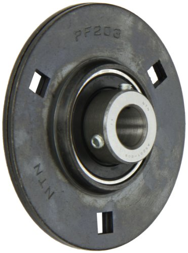 Side Flange (NTN ASPF201-008 Light Duty Flange Bearing, 3 Bolts, Setscrew Lock, Non-Relubricatable, Contact Seals, Pressed Steel, Inch, 1/2