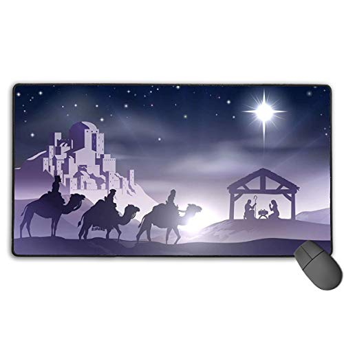 Winter Landscape Christmas Scene Story Extended Gaming Mouse Pad 15x29in Computer Keyboard Mousepad Mouse Mat Non-Slip Base