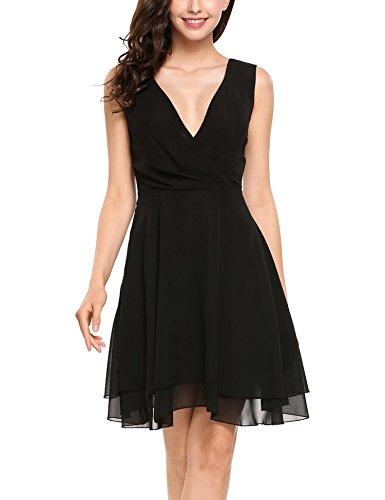 ANGVNS Women's Summer Deep V Neck Faux Wrap Pleated Chiffon Midi Dress - Black Chiffon Cocktail Dress