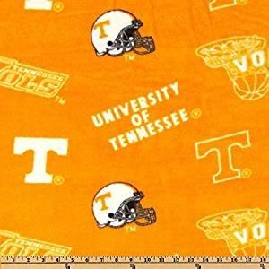 (Sykel Enterprises Collegiate Fleece University of Tennessee Tossed Orange/White Fabric By The Yard )