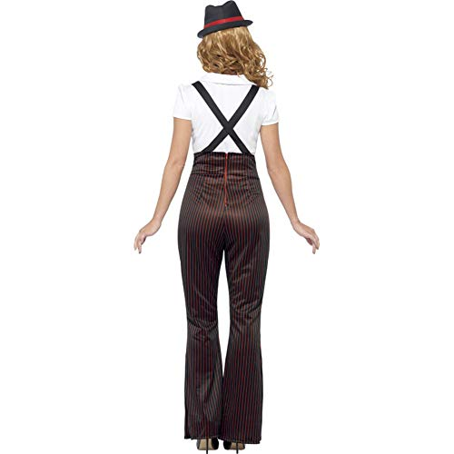 Smiffy's Women's Glam Gangster Costume, Top, Pants, Mock Suspenders, Neck Tie & Hat, 20's Razzle Dazzle, Serious Fun, Size 6-8, 24635