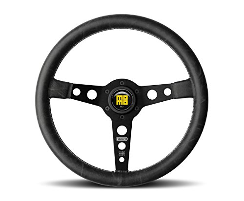 MOMO Steering Wheel Prototipo Heritage Black Spokes Distressed Leather New Model 2017 PRH35BK2B (Prototipo Leather)