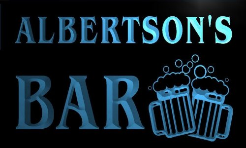 w003385-b-albertsons-name-home-bar-pub-beer-mugs-cheers-neon-light-sign