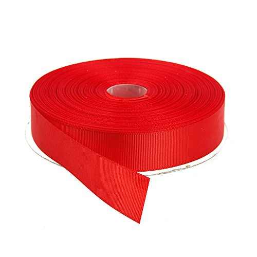Topenca Supplies 1 Inches x 50 Yards Double Face Solid Grosgrain Ribbon Roll, Red (Red Ribbon Grosgrain Fabric)