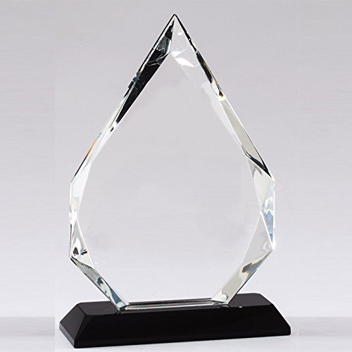Customizable 7-3/4 Inch Arrowhead Optical Crystal Award with Black Crystal Base, includes Personalization