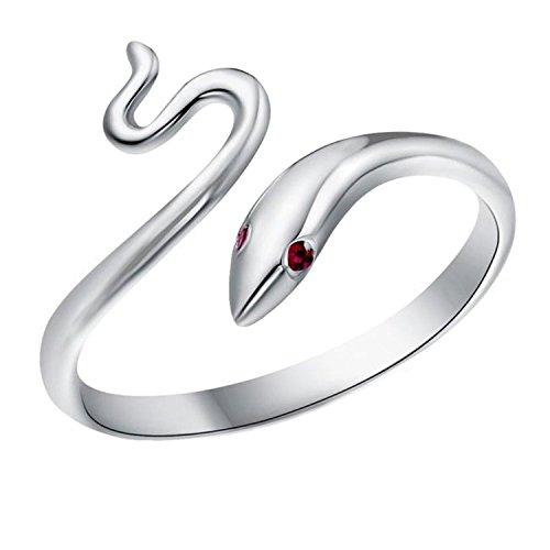 Gold Ring White Snake (TomSunlight 925 Sterling Silver Adjustable Finger Opening Ruby Eye Snake Ring)