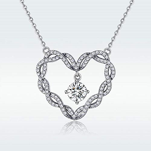 - Stamped S925 Sterling Silver Necklace with Beating Heart Pendant Jewelry Chain