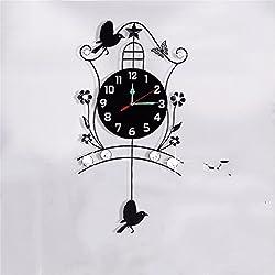 Modern and minimalist iron art quartz clocks clock rocking creative clock idyllic mute clocks bedroom living room iron wall clock20Inch,Deluxe)