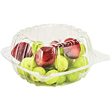"""Dart Container 100 Piece, Clear Hinged Plastic Food Take Out To-Go/Clamshell Container, 6"""" W"""
