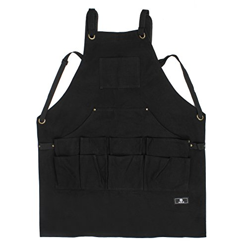 Work Apron With Tool Pockets, Upgraded Heavy Duty Canvas Tool Apron Workshop Apron With Quick Release Buckle Adjustable M To XXL by Ezeso