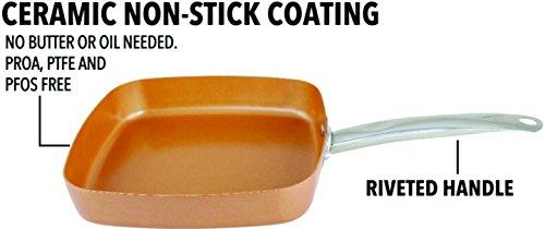 Copper Pan Square 9.5 Inch Non Sick Ceramic Infused Dish Washer Safe