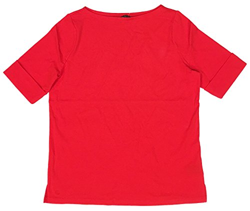 (LAUREN RALPH LAUREN Plus Size Boatneck Stretch Cotton Tee Top (2X, Lipstick Red))