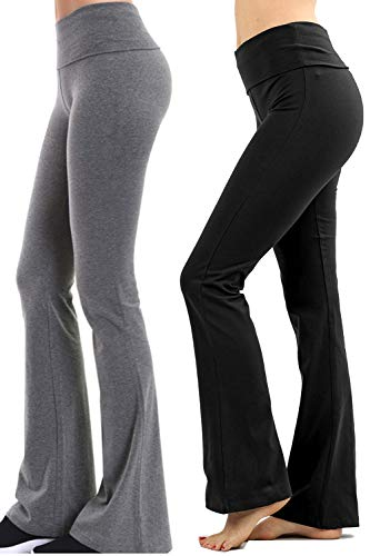 ClothingAve. Foldover Contrast Waist Bootleg Flare Yoga Pants with Value Pack Options 2 Pack