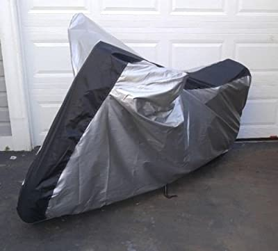 Motor Pursuits All Weather Waterproof Motorcycle Scooter Cover Silver Black Stripe Oxford 150D Fabric