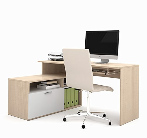 Bestar Modula L-shaped Workstation in Northern Maple & White 90426-1138 (Bestar Office Furniture)