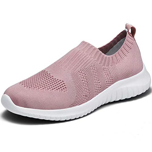 LANCROP Women's Lightweight Walking Shoes - Casual Breathable Mesh Slip On Sneakers 6.5 US, Label 37 Mauve