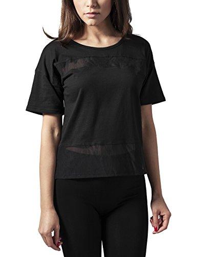 Urban Classics Ladies Tech Mesh Tee, Camiseta Para Mujer Schwarz (blk/blk 17)