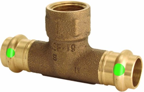 (Viega 79590 ProPress Zero Lead Bronze Tee with Female 3/4-Inch by 3/4-Inch by 1/2-Inch P x P x Female NPT)