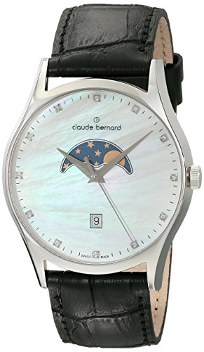 Claude Bernard Men's 79010 3 NAN Classic Gents Moon Phase Analog Display Swiss Quartz Black Watch