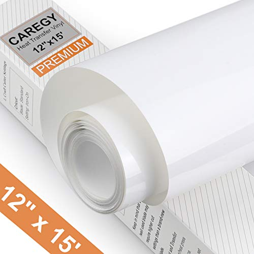Heat Transfer Vinyl HTV Rolls for T Shirts 12in.x15ft. - Easy Weed Iron on HTV Vinyl Compatible with Cameo Silhouette & Cricut (White) ()