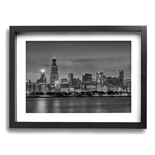 CLLSHOME 12x16 Inches Wall Decor Toilet Bathroom Framed Art Print Picture Chicago Skyline at Night in Black and White Wall Art for Home Decorations ()