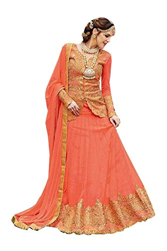 Da Facioun Indian Women Designer Wedding Light Orange Lehenga Choli R-16568