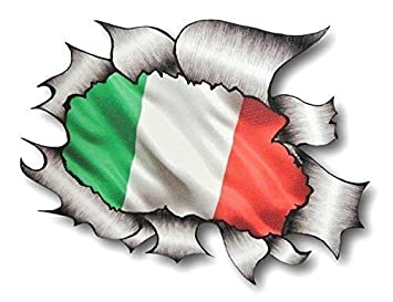 HEART Shape Carbon Fibre Fiber Ripped Metal /& Italy Italian Flag car sticker