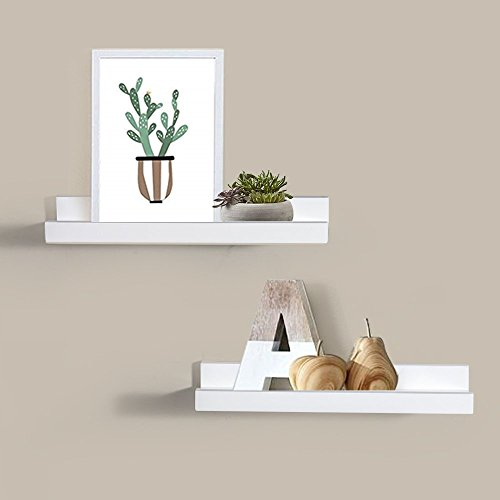 4 Deep Wall - AHDECOR Picture Ledge Floating Picture Display Ledge Wall Mountable Shelf, 4-inch Deep, Set Of 2 pcs (White)