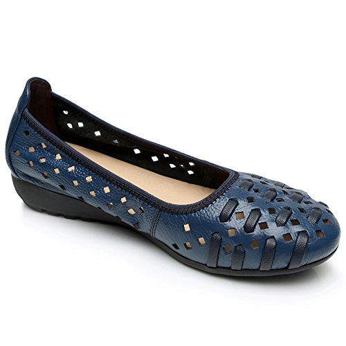 Rismart Dames Holle Comfort Slip Op Lederen Ballerinas Schoenen Schoenen Royal Blue