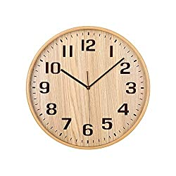 Classic Handmade Silent Wall Clock, KAMEISHI 12 Inches Quiet Wood Wall Clocks Battery Operated Simple Sweep No the tick-tock Decorative for Office, Home, Bedroom, Living Room & Kitchen, Natural color
