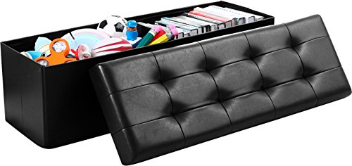 """Ellington Home Foldable Tufted Faux Leather Large Storage Ottoman Bench Foot Rest Stool/Seat - 15"""" x 45"""" x 15"""" (Black)"""