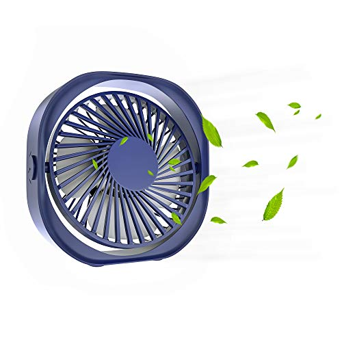 3 Speed USB Mini Desk Fan, Portable Table Fan with Strong Wind Quiet 360°Rotatable Personal Small USB Powered Desktop Fan for Home Office Dorm(Blue)